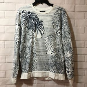 Zara Man Tropical Blue Cream Palm Leave Sweatshirt